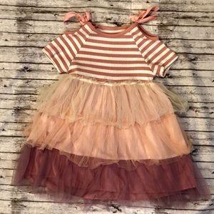 Ruffled blush pink and white dress 18-24 months